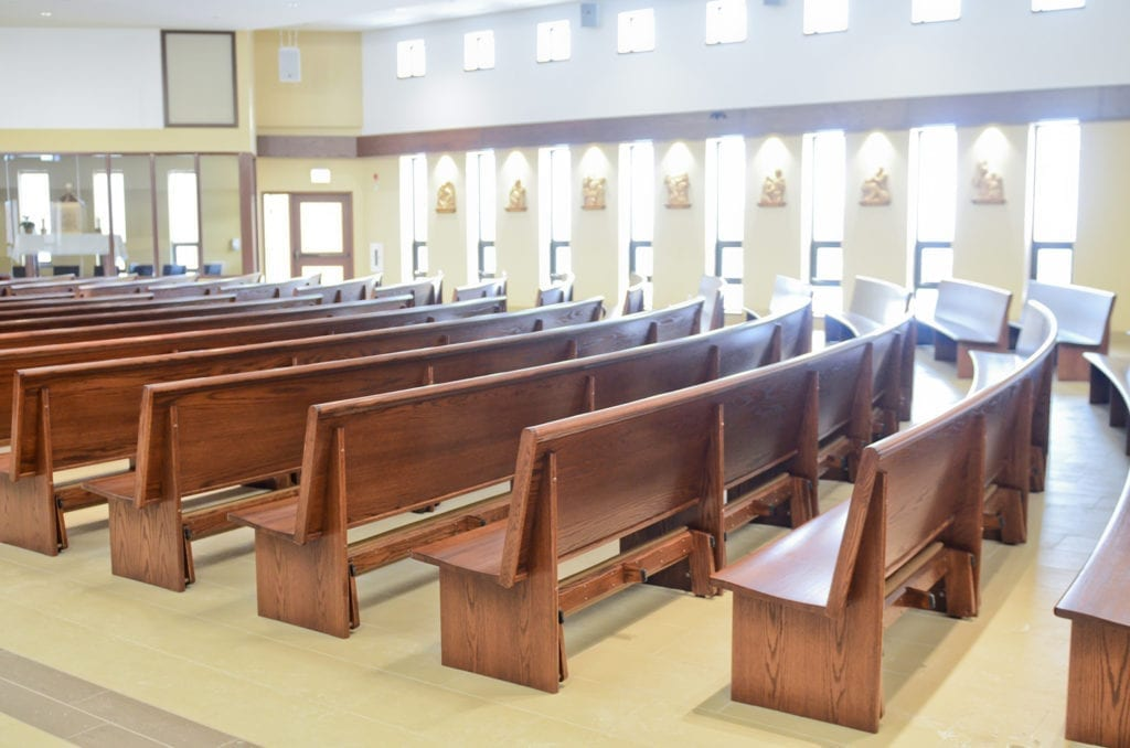Rows of pews from the rear