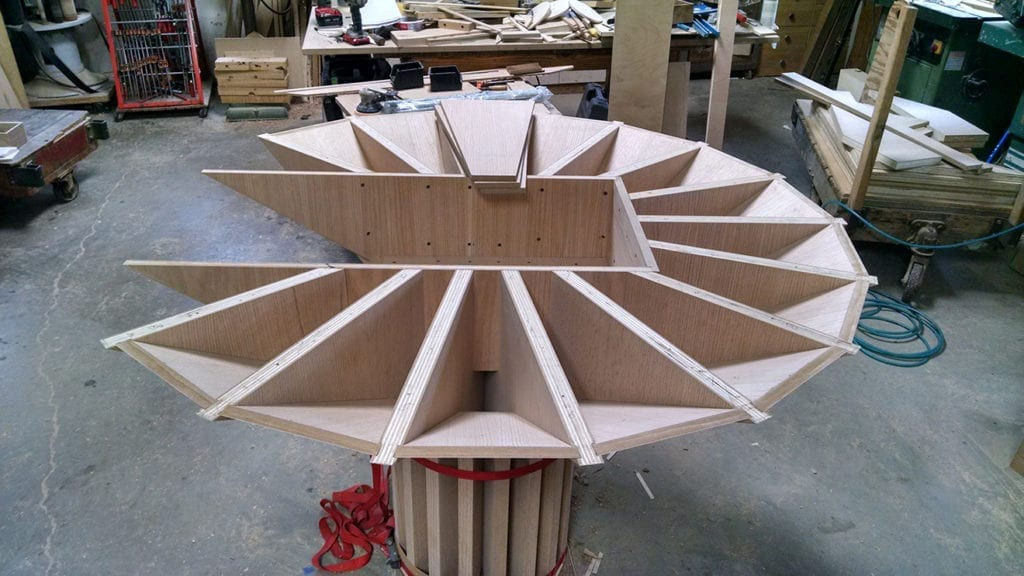 Unfinished wooden Bimah table with top removed