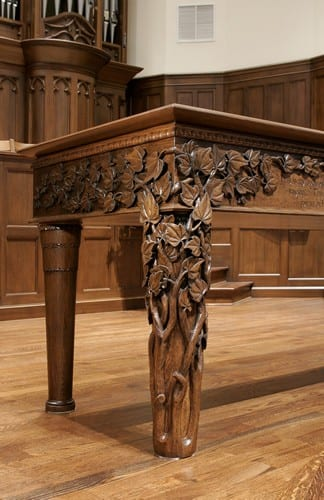 Hand Carved Communion Table Close up