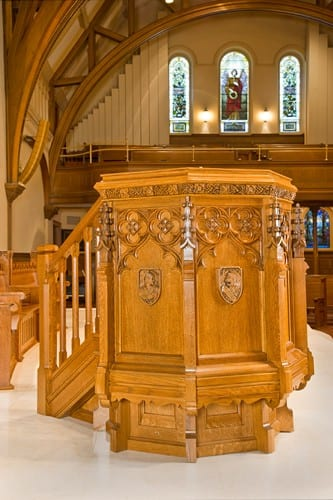 New Base and Steps Attached to Existing Carved Pulpit