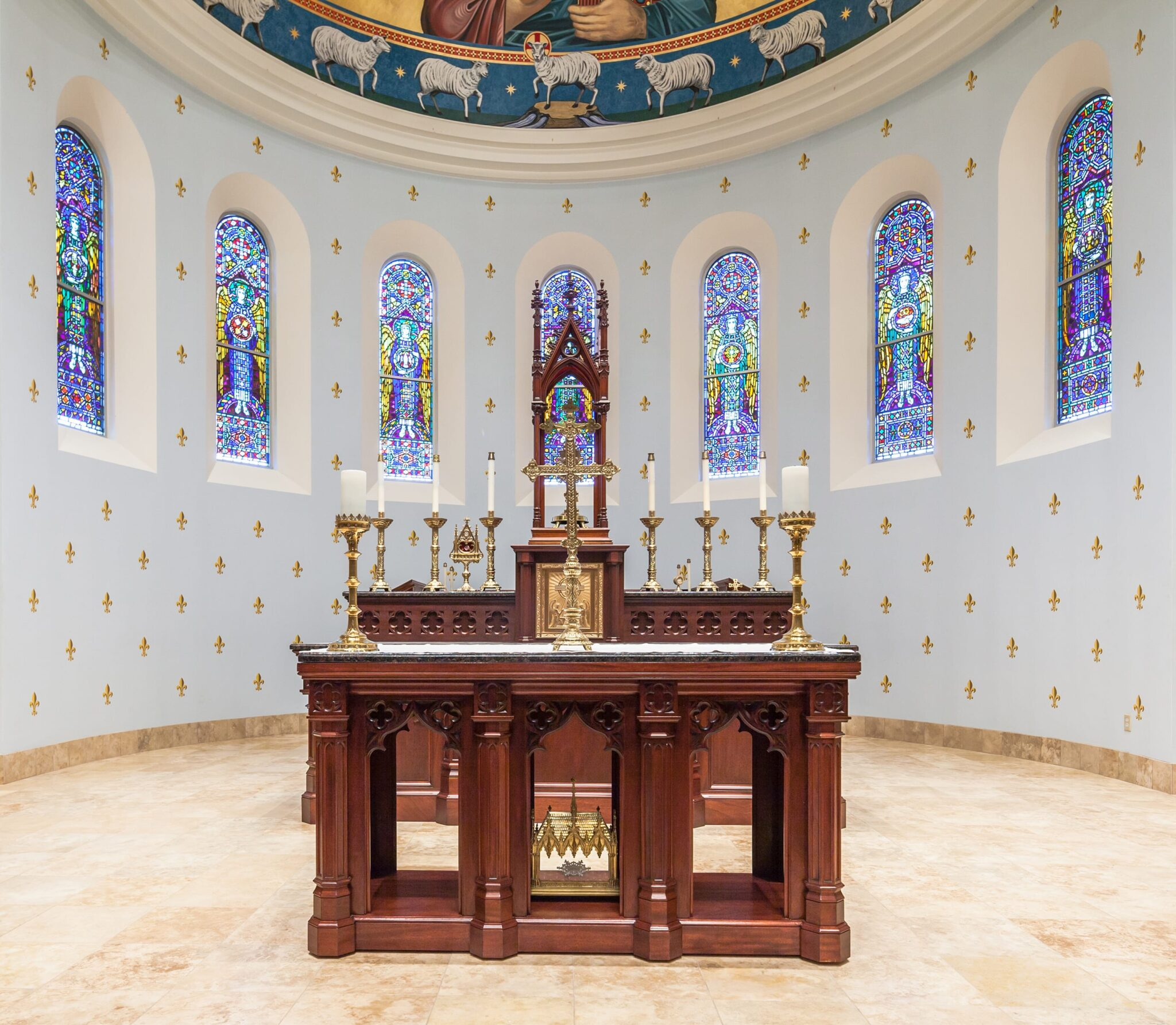 View of Wooden Altar in circular sanctuary