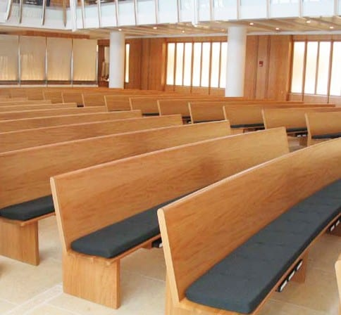 Combination of Radius Defined Seating and Radius Pews