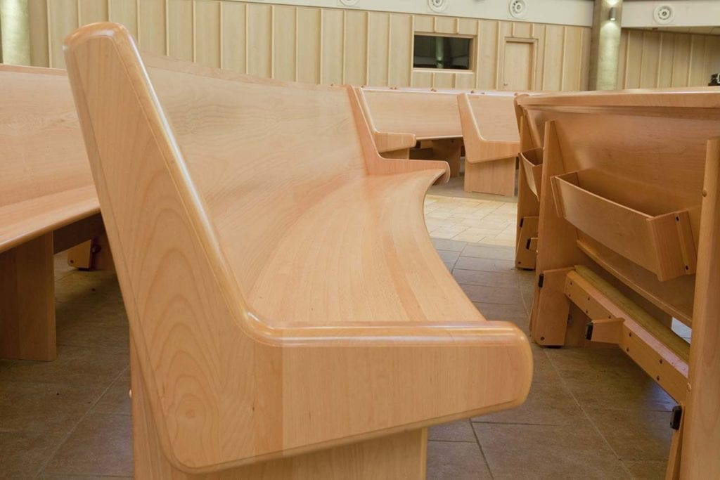 Wooden pews side view
