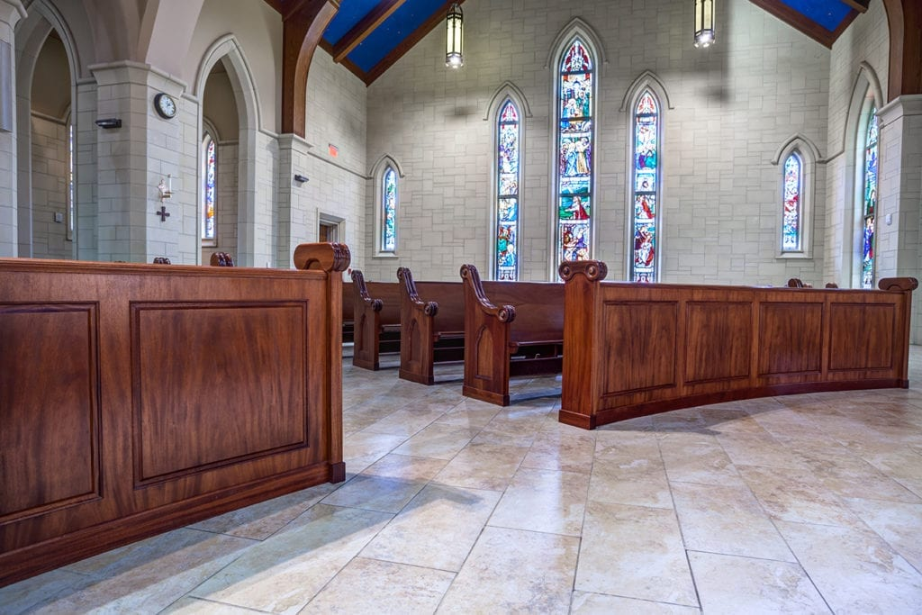 Wide view of nave and pews
