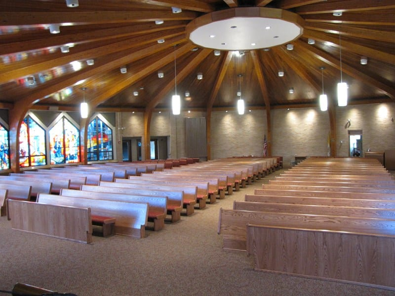 Open Ended Red Oak Pews and Wood Chairs