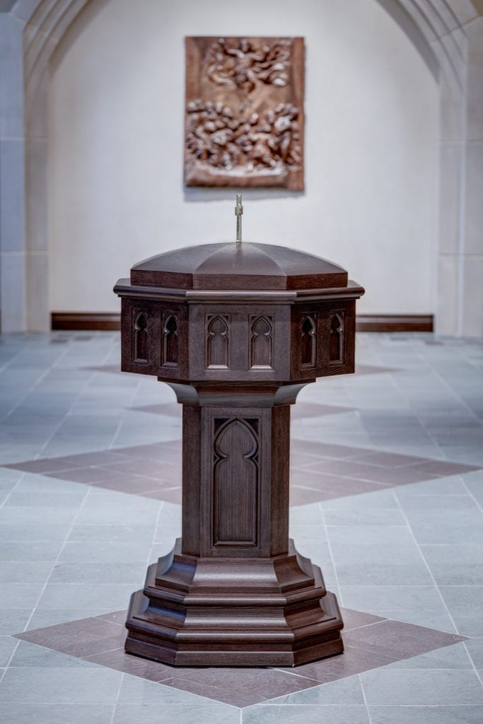 wooden Baptismal Font with cover