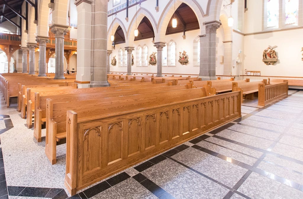 church pews from rear of church