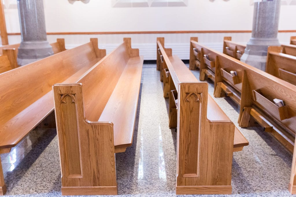 side view of pews and pew ends