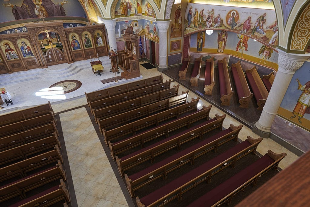 open floorplan of church with pews