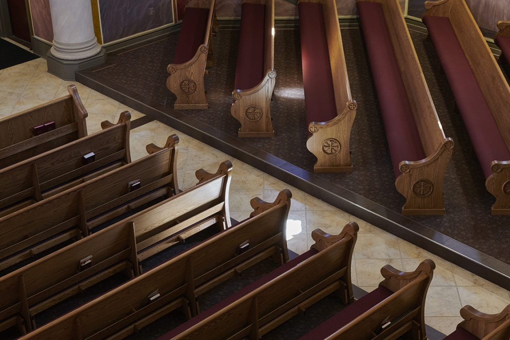 pews angled on side view