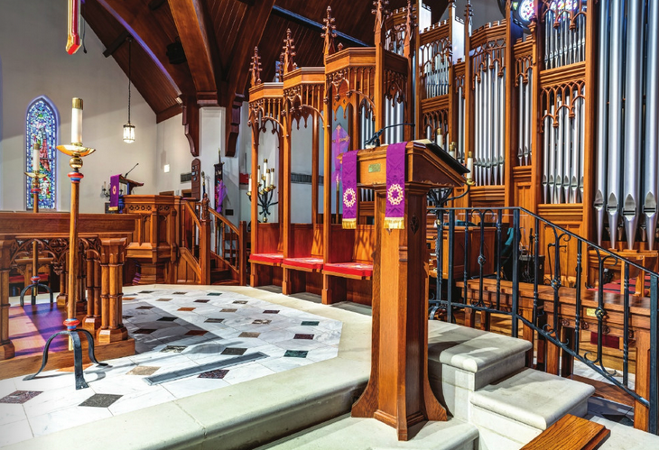 custom neo-gothic furnishings in front of church interior