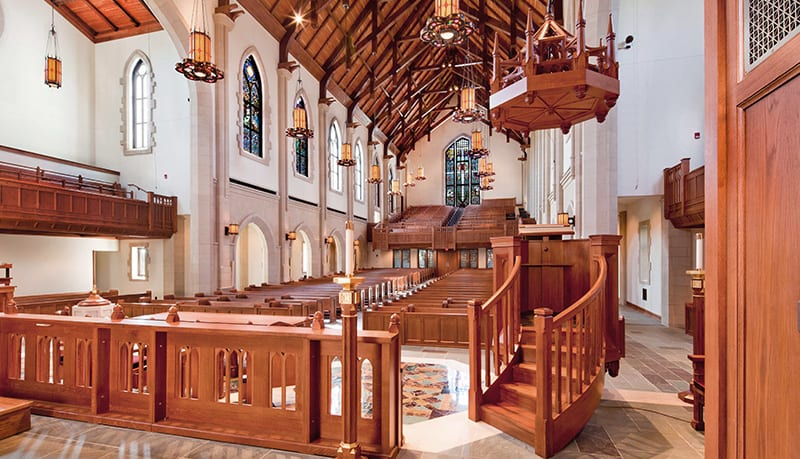 view of church from behind the altar