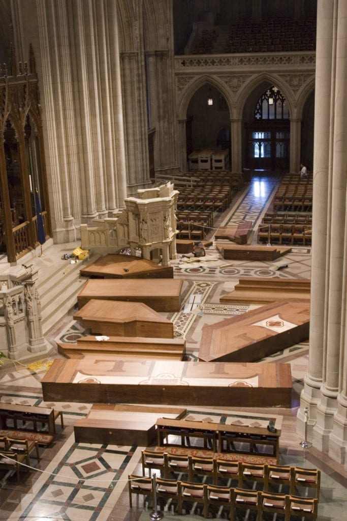 Installation of new wook platform in the crossing at Washington National Cathedral