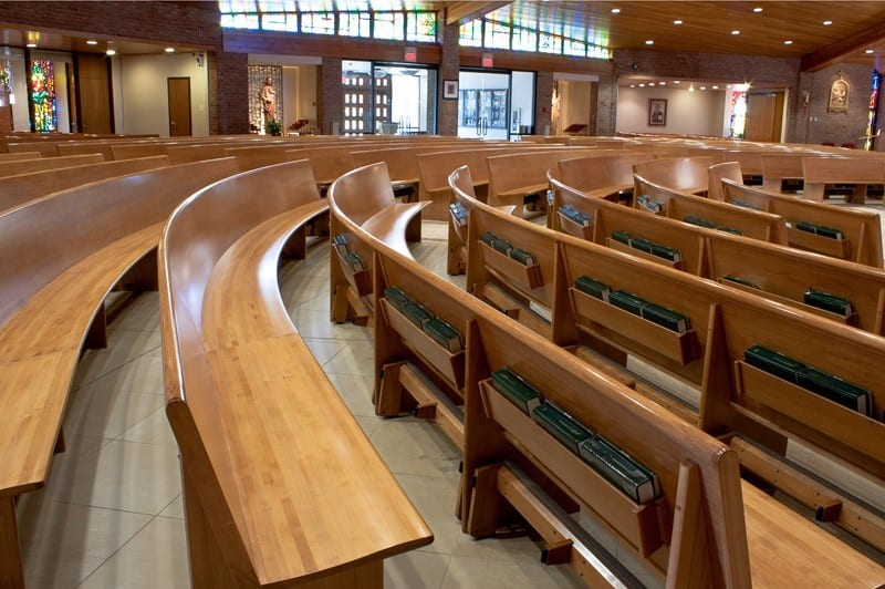 New radius curved pews at St Mary of the Immaculate Conception church