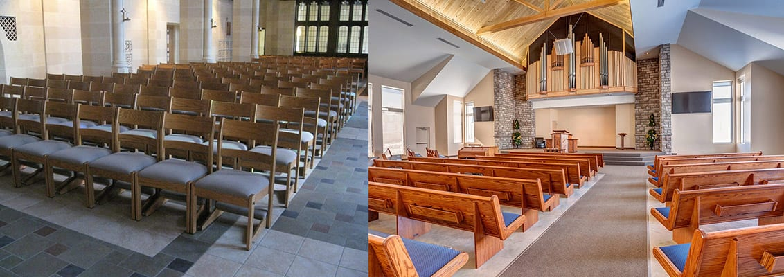 Church chair and pew seating