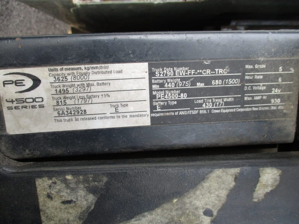 forklift data plate