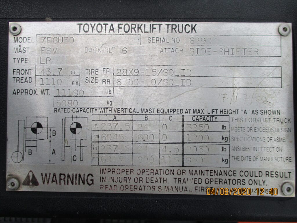 toyota forklift plate
