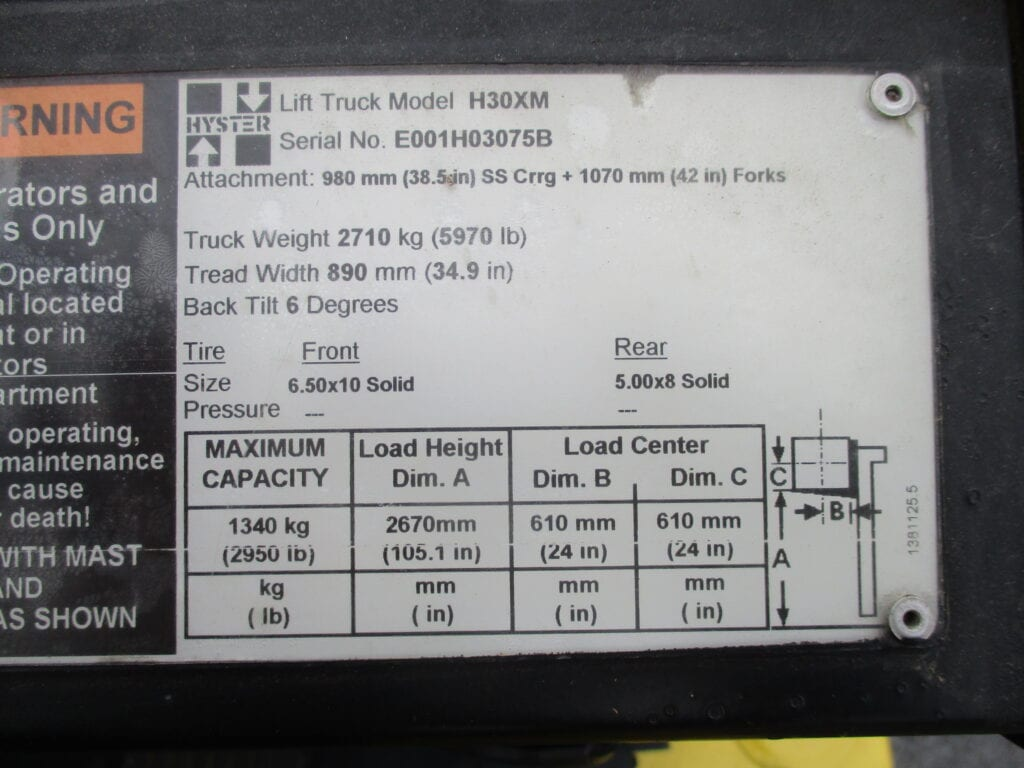hyster forklift plate
