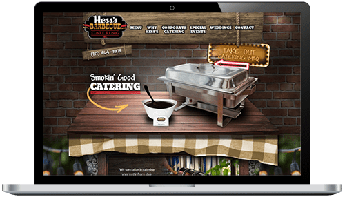 Hess's BBQ Website on Laptop Screen