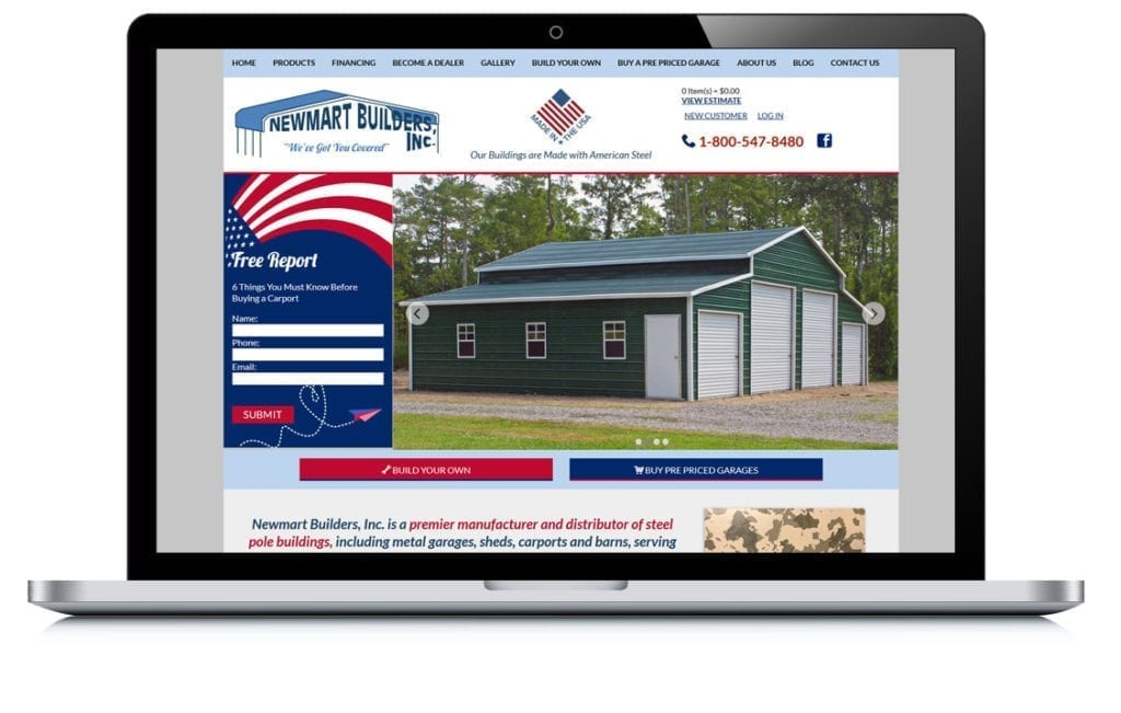 Example of Newmart Builders E Commerce Website