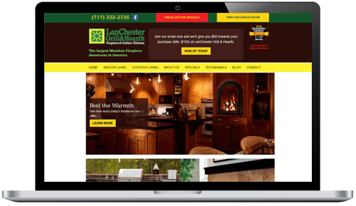 Lanchester Grill & Hearth Website on Laptop