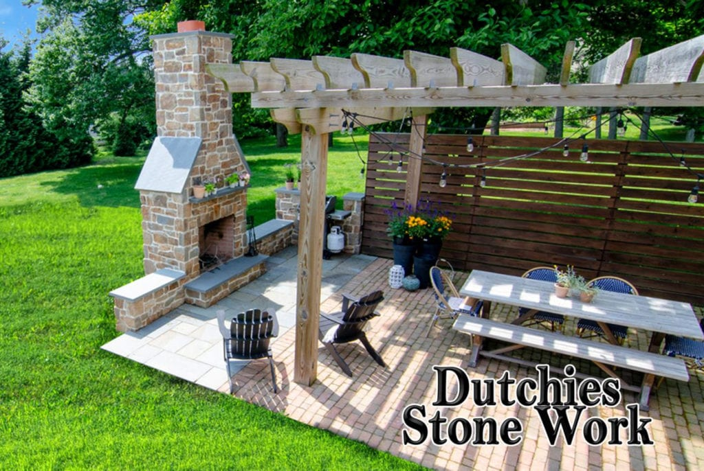 stone patio and fireplace
