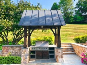pergola with outdoor stove