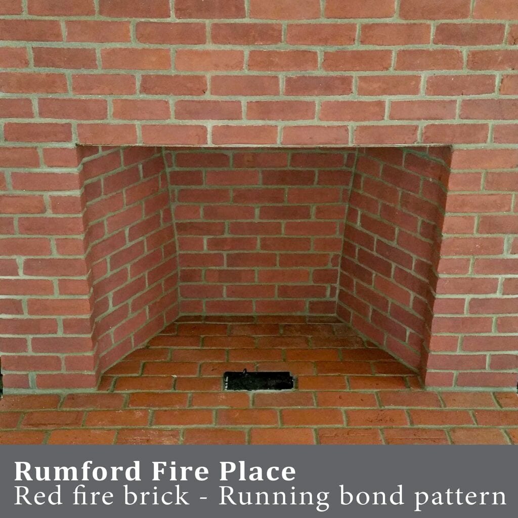 rumford red brick fireplace