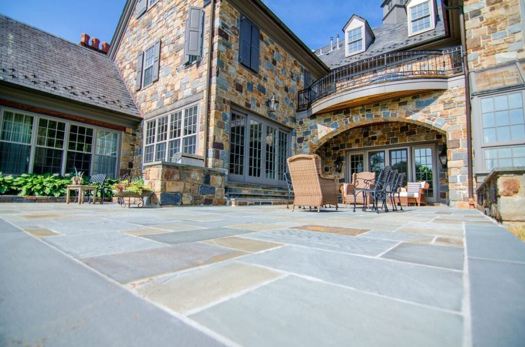 Stone patio with outdoor furniture