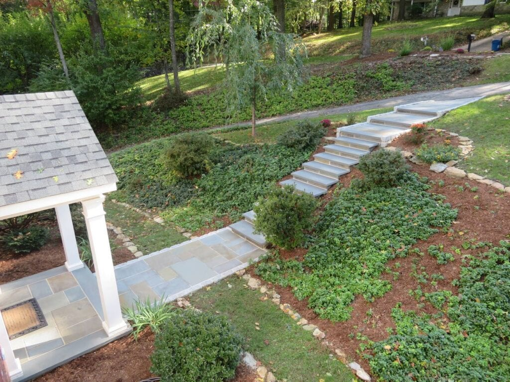 Aerial view of stone steps
