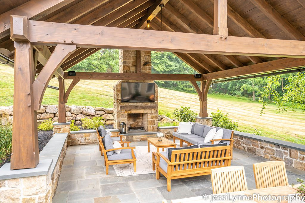 stone deck with fireplace