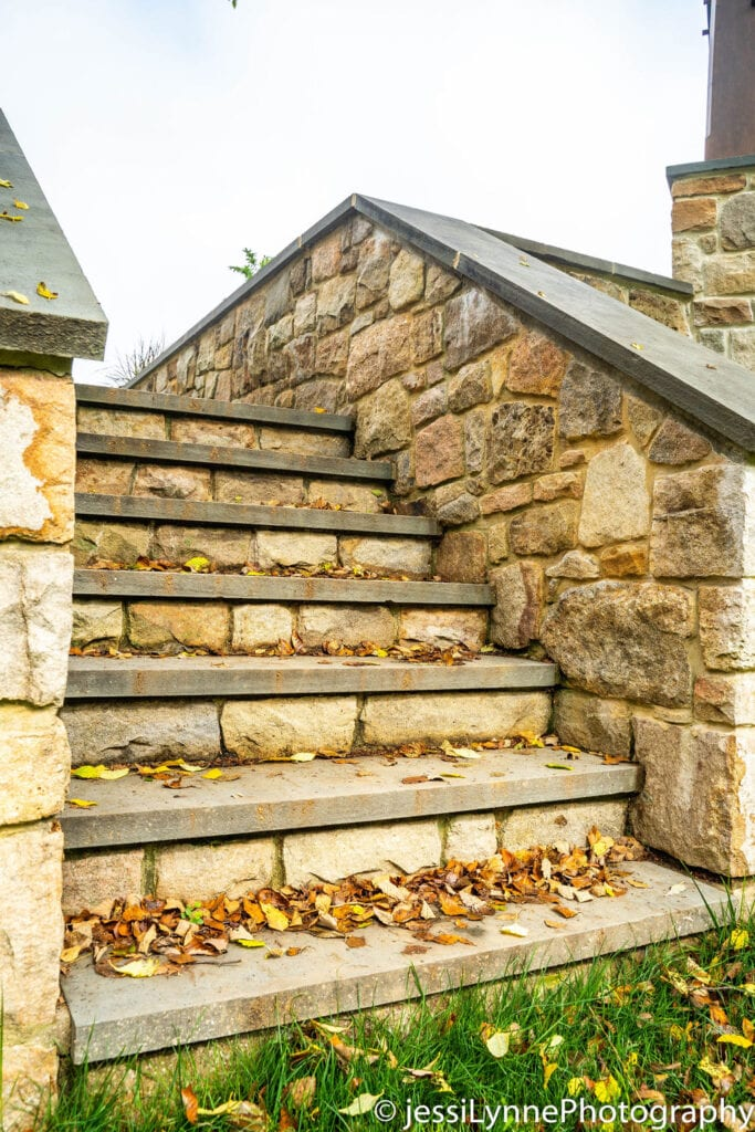 stone stairs in yard with leaves on it