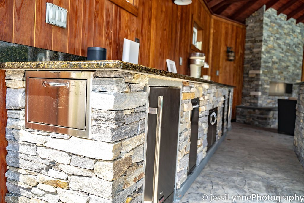 stone walled outdoor stove