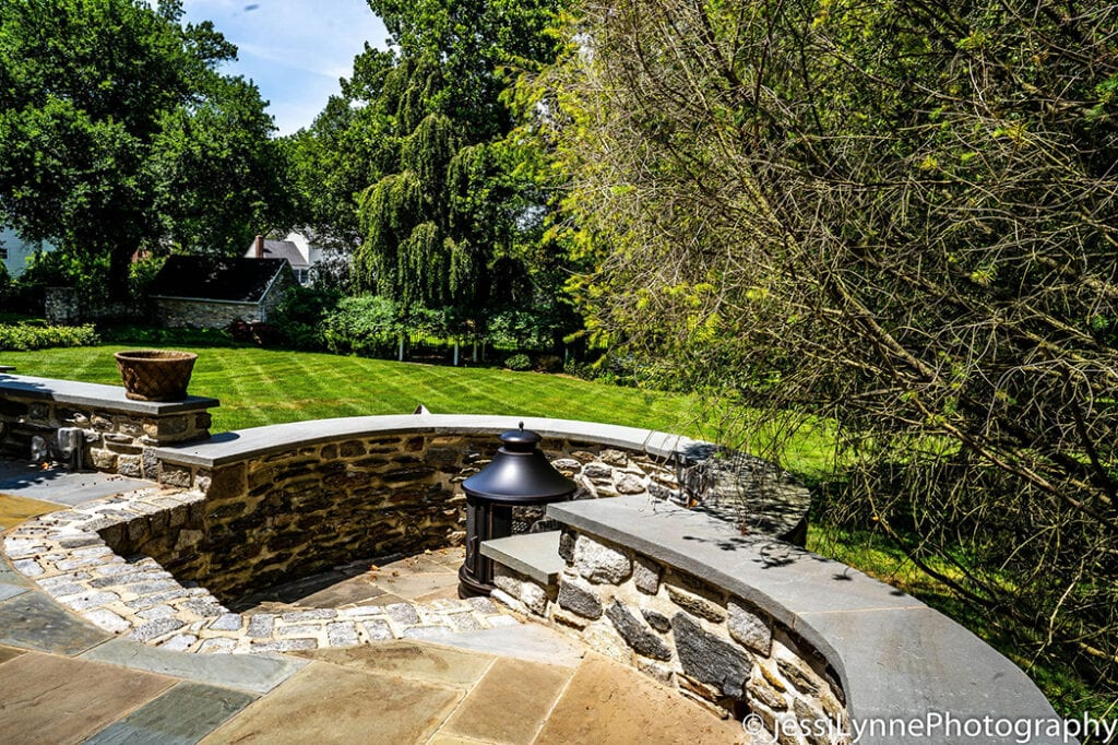 stone stairs leading to backyard