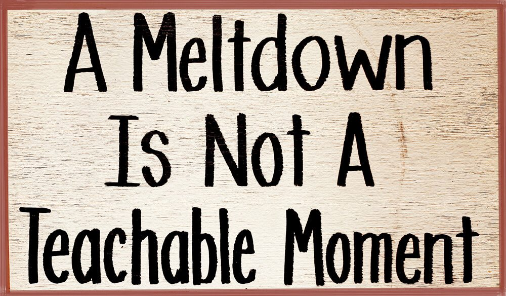 A Meltdown is not a Teachable Moment sign
