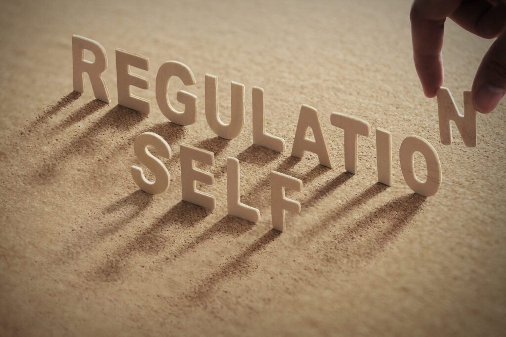 the words self regulation in the sand