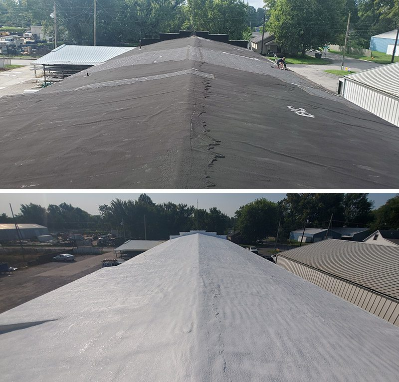 before/after shot of a spray foam roof