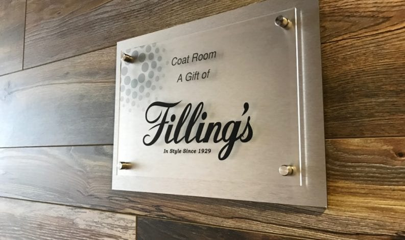 Filling's sponsorship acrylic signage by The H&H Group in Lancaster Chamber building