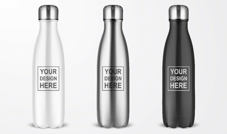 Promotional water bottles ready for customization