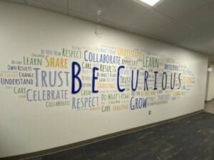 be curious wall sign