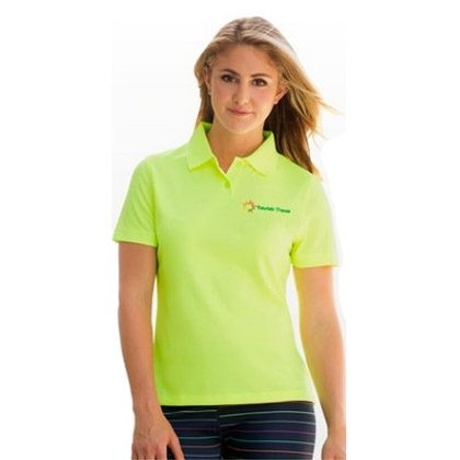woman in yellow branded polo