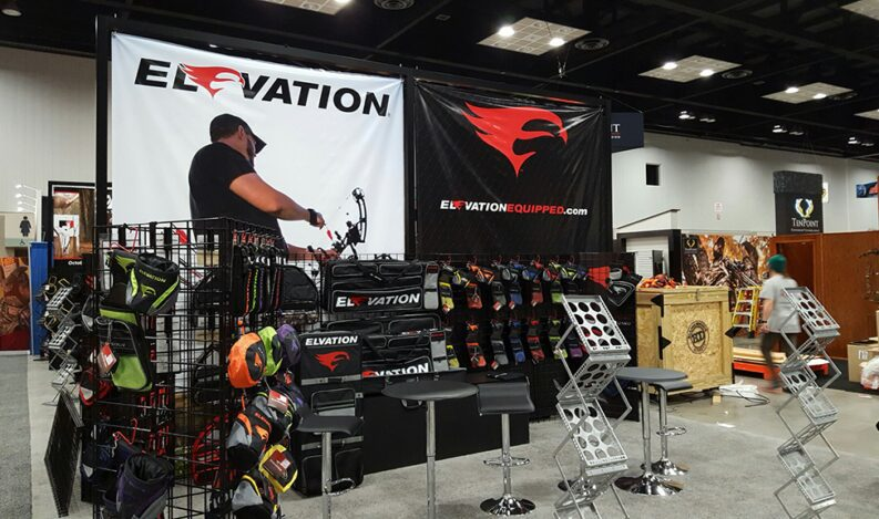 A trade show display features multiple ideas for effective event marketing.