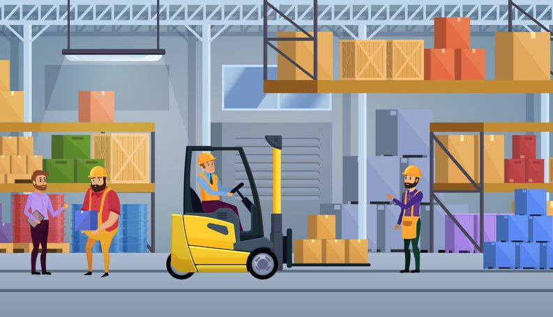 Warehouse workers move products around and interact with each other.