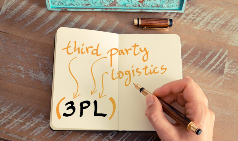 A notebook with the words 'third-party logistics' written in it.