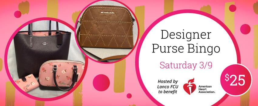Designer Purse Bingo Poster - Saturday, March 9