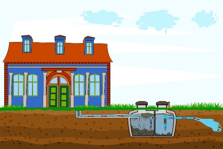 Artist's rendering of a house with a view of underground septic system