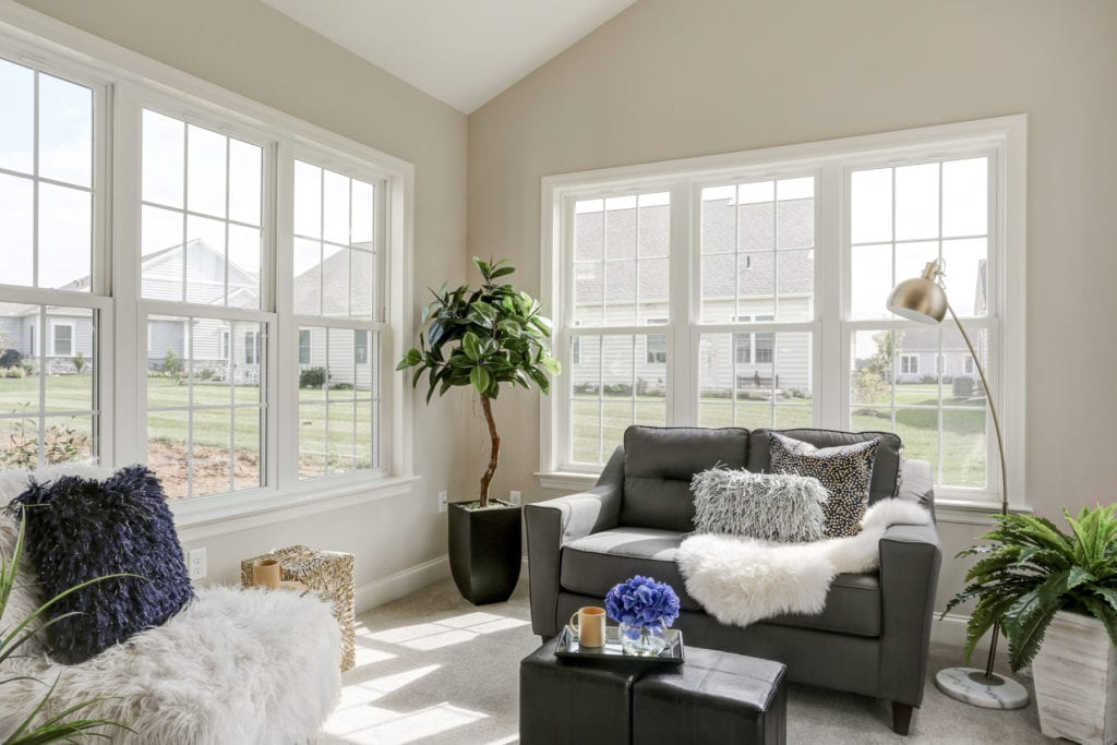 living room with large windows