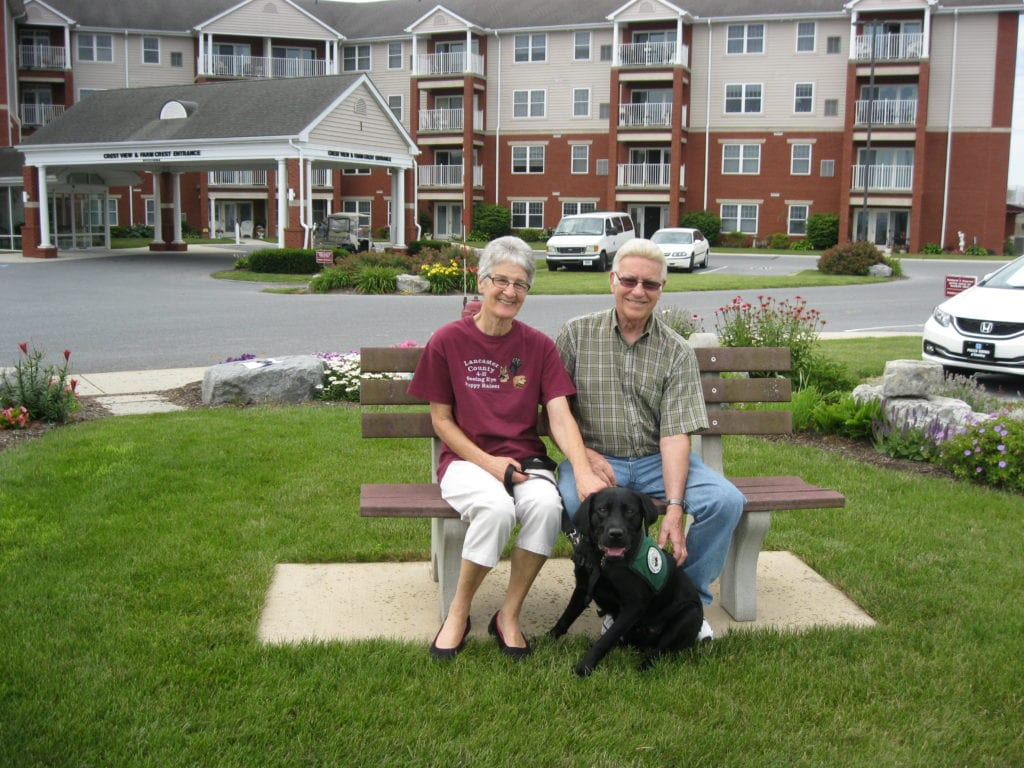 Puppy visiting Fairmount Homes retirement village