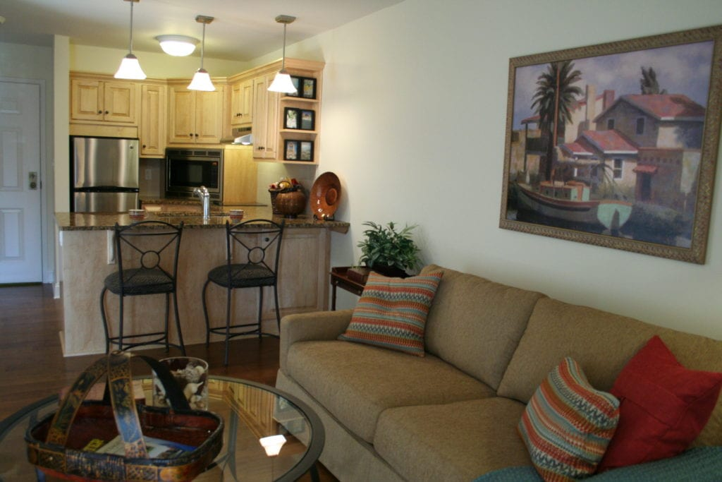Living room and kitchen at Homestead Village community