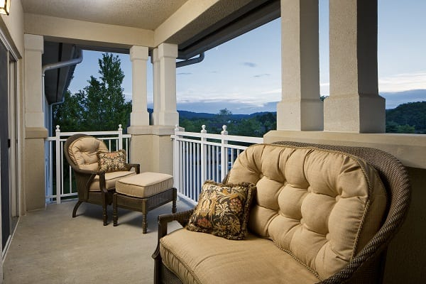 1 bedroom patio at Woodcrest Villa retirement homes